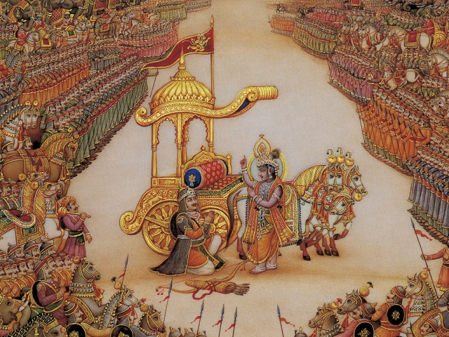 BG Krishna instructs Arjuna 2